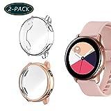 Jvchengxi Funda Protectora para Galaxy Watch Active, Cubierta Protectora de Marco a los rasguños TPU Protector de Pantalla de Cobertura Total para Galaxy Watch Active 40mm (Oro Rosa/Transparente)