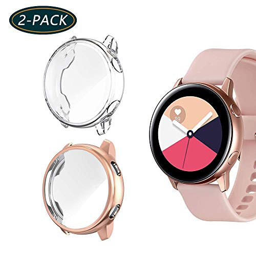 (2-Pack) KPYJA for Samsung Galaxy Watch Active Screen Protector, All-Around TPU Anti-Scratch Flexible Case Soft Protective Bumper Cover for Galaxy Watch Active 40mm Smartwatch (Rose Gold/Clear)