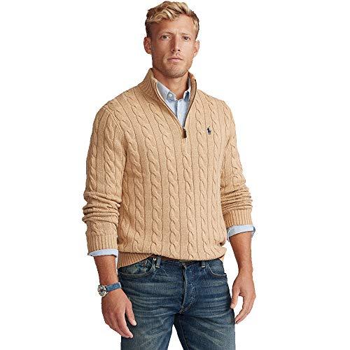 Polo Ralph Lauren Jersey de algodón Cable-Knit Half Zip (XXL, Camel Melange)
