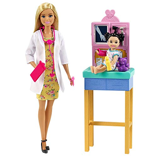 Barbie Pediatra Muñeca rubia doctora con bebé, consulta médica de juguete y accesorios (Mattel GTN51)