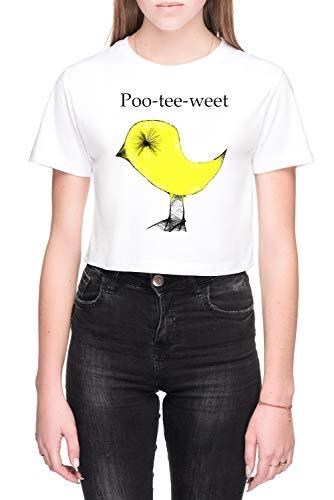 Poo-Tee-Weet Damen Bauchfreies Crop T-Shirt Weiß Größe M - Women's Crop T-Shirt White