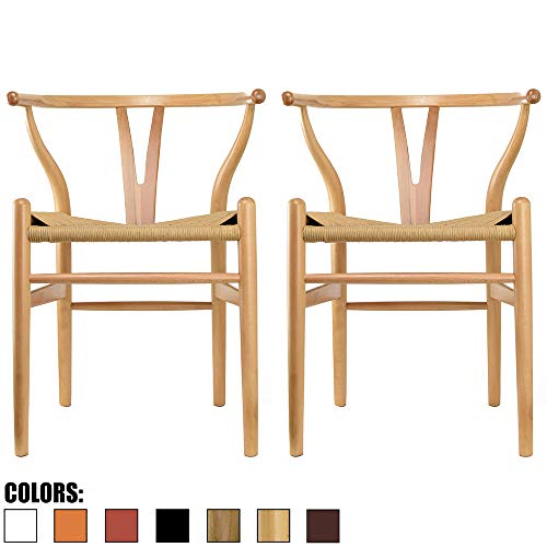 2xhome Set of 2 Natural Wishbone Wood Armchair with Arms Open Y Back Open Mid Century Modern Contemporary Chair Dining Chairs Woven Seat Brown Living Desk