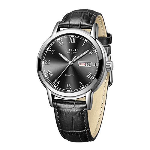 LIGE Reloj para Hombre Analógico Cuarzo Cuero Negro Reloj Masculino Impermeable Negro Redonda Calendario Gents Vestido Relojes de Pulsera