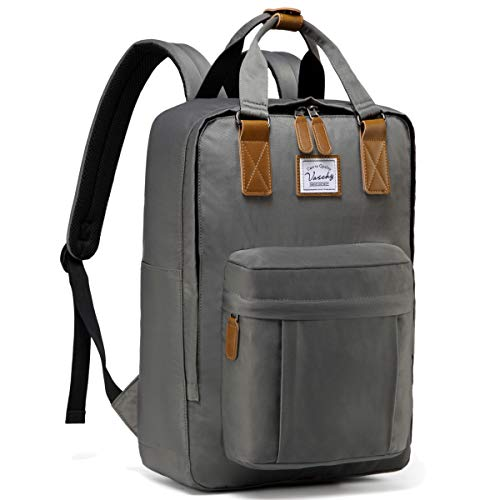 VASCHY Backpack for Women, Men School Backpack Casual Backpack Anti-Theft Vintage Rucksack Water Resistant Backpack for 15in Laptop(Dark Grey)