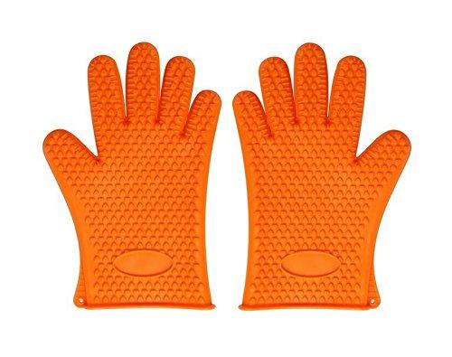 耐熱 シリコン 手袋 キッチン 手袋 オーブン バーベキュー 用 グローブ 滑り止め 防水 5本指 キッチン 手袋 オレンジ