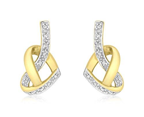 Carissima Gold 9 ct Yellow Gold Diamond Heart Knot Stud Earrings
