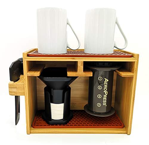 HEXNUB Soporte Organizador de bambú Premium para cafetera Aeropress para filtros, Tazas y Accesorios de la cafetera Aeropress con Alfombrilla de Silicona antigoteo - Marrón