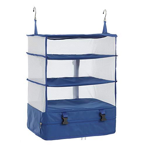 Elezay Organizador portátil para colgar en el armario, bolsa de embalaje, organizador de maleta, color azul XL