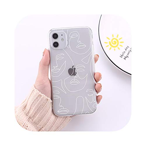 Abstract Line Art Painting Transparent Phone Case for iPhone 12 11 Pro Max XR XS Max 6S 8 7 Plus Soft TPU Capas Fundas-6-For iPhone 11Pro Max