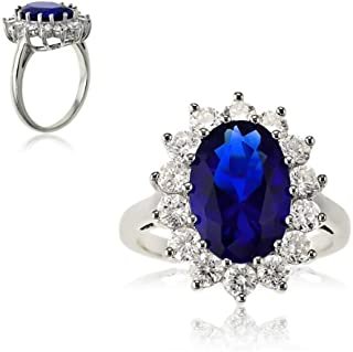 Sterling Silver Large Oval Created Blue Sapphire and Clear Cubic Zirconia Statement Bridal Engagement Princess Diana/Kate Middleton Royal Ring