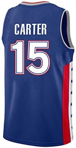 YOYO Camiseta De Baloncesto NBA All-Star Raptors Vince Carter No. 15 La Ropa Deportiva para Hombres Es Cómoda Y Simple Ropa De Jugador De Baloncesto Versátil Regalos,Blue-XL