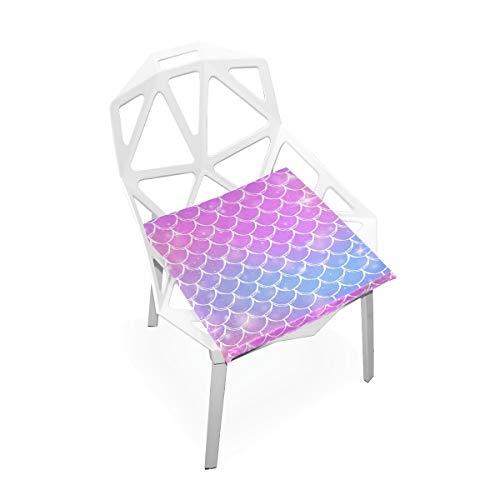 Cojín de espuma viscoelástica para sillas de cocina, suave, lavable, antipolvo, silla de comedor, cojín de 40,6 x 40,6 cm (escala de sirena) 2030091