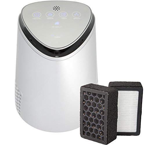 SilverOnyx 3 in 1 Air Purifier for Home with True HEPA Carbon Filter, UV Light, Ionizer. Best Air Cleaner for Allergies and Pets, Smoke, Dust, Mold, Smokers. Quiet Air Filtration 2-Speed. Silver