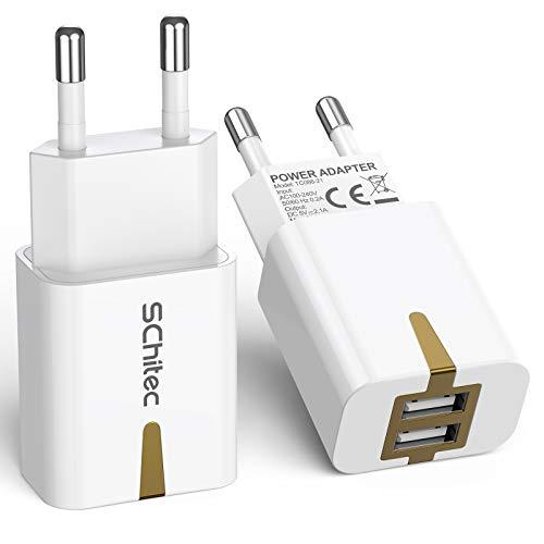 SCHITEC Caricatore USB, Caricatore USB da Muro 2 Pack 2 Porte 5V/2.1A Caricabatterie USB Presa USB Compatibile per iPhone XS XR X Samsung M20 A50 S10 A8 A7 Huawei P30 P20 Lite Mate 20 Lite, Xiaomi