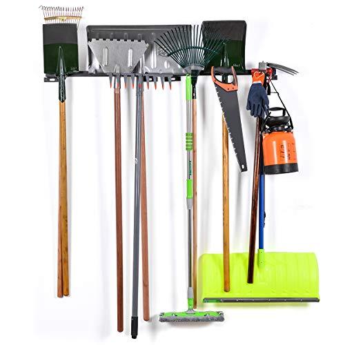 Gerätehalter Garten, Sunix Werkzeugregal Regale Organizer Werkzeug-Organizer für Haus & Garage Wandhalterung mit 6 abnehmbaren Haken, 2er Pack