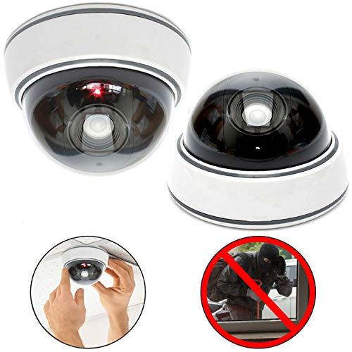 2X professionelle Domkameras Dummy mit Blinkler Kamera Attrappe mit Objektiv und Blinkled Videoüberwachung Warensicherung