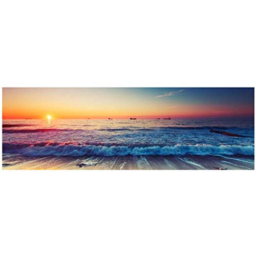 """XIONGSHENG Sunset By The Sea Canvas Paintings On The Wall Art Posters And Prints Ocean Waves Art Pictures For Bed Room Wall Decor 11.8""""x23.6'(30x60cm) With frame"""