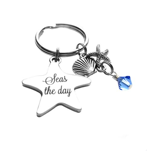 Heart Projects Stainless Steel Star Seas The Day Quote Starfish, Clamshell Charms Keychain Bag Charm