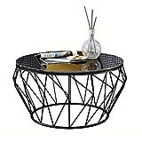 Wohnzimmer-Tische Couchtische Wohnzimmer-Couchtisch Moderner Beistelltisch - Runder Schwarzer Glas-Desktop Und Metallrahmen-Büro-Dekoration-Beistelltisch (Gold / Schwarz) Größe:...
