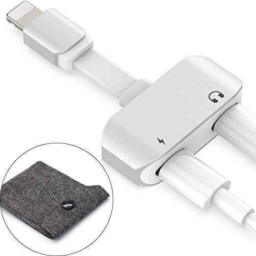 TATE GUARD Dual Kopfhöreradapter Ladeadapter, Lautstärkeeinstellung, 2-in-1 Audio & Aufladen Kompatibel mit iPhone 11/11 Pro/X/XR/XS/XS MAX/8/8 Plus/7/7 Plus/6 -Weiß