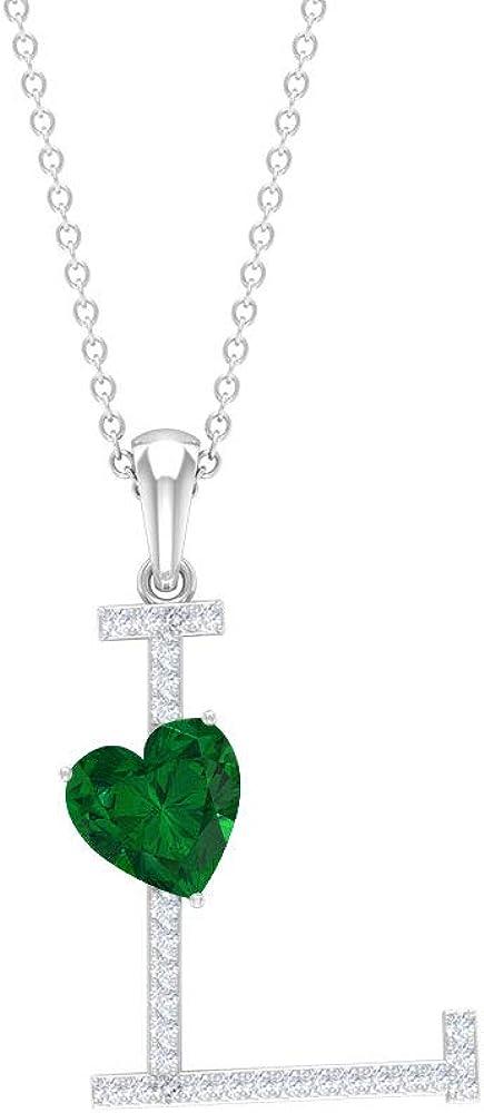 Rosec Jewels - L Initial Alphabet Pendant, D-VSSI Moissanite Necklace, 1.7 CT Heart Shape Emerald Pendant (AAA Quality)
