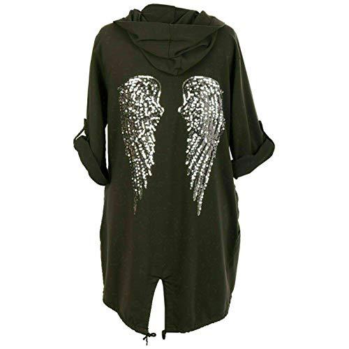 Italian Collection Chaqueta larga con capucha para mujer, diseño de alas de ángel