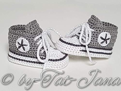 Babyschuhe gehäkelt-Sneakers-grau/anthrazit-Turnschuhe-Sportschuhe-Krabbelschuhe