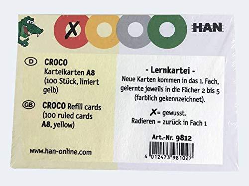 Karteikarten für CROCO DIN A8, gelb 400 Stück liniert, 190 g/m²