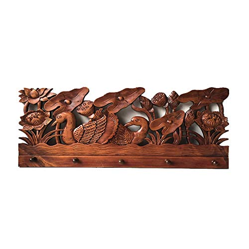 ZHANGGUOHUA Percheros, Tronco Tallado Enchufe para Arriba Decoración clásica de la Pared Abrigo Dormitorio Sala de Estar Toalla (Color : Solid Wood Hook, Tamaño : 65 * 25cm)
