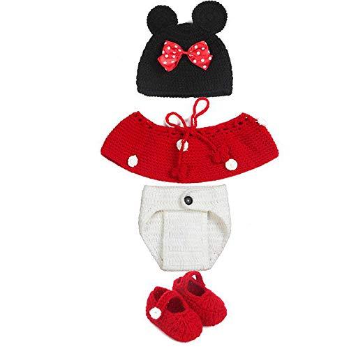 Ogquaton Bebé Mickey Dress Up Set Traje hecho a mano de Mickey Mouse Ropa tejida hecha a mano para accesorios de fotos de arte