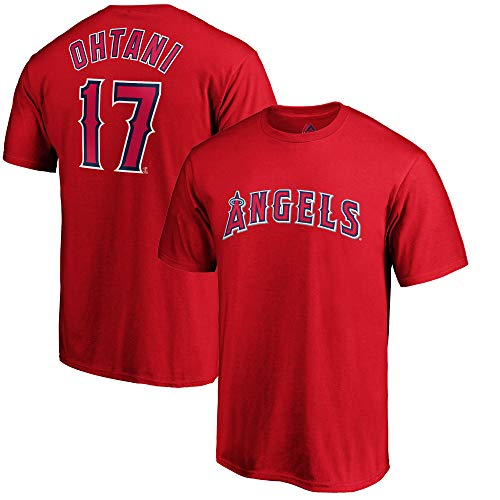 Outerstuff MLB Youth Performance Polyester Team Color Player Name and Number Jersey T-Shirt (Large 14/16, Shohei Ohtani Los Angeles Angeles)