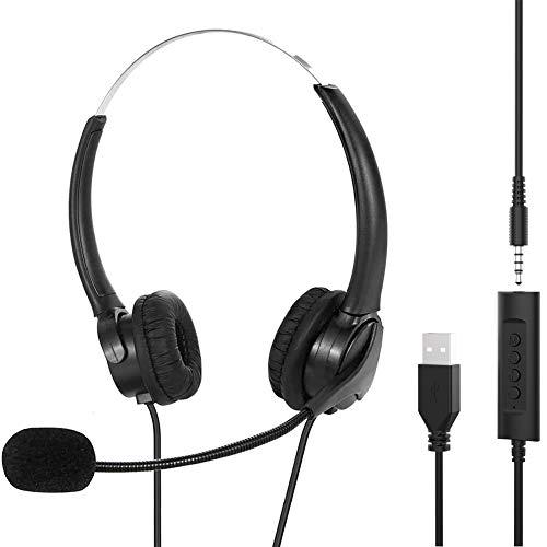 PC Headset mit Mikrofon USB/3,5mm Business Headset mit Noise Cancelling & Audio Controls, Stereo PC Kopfhörer für Call Center, Office, Skype, Chat, Softphone