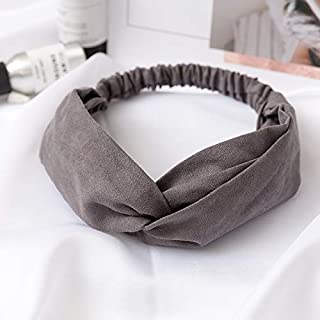 Hair band Women Hair Accessories Headband Vintage Cross Knot Elastic Hair Bands Soft Solid Girls Hairband MJZCUICAN (Color : Gray, Size : Free)