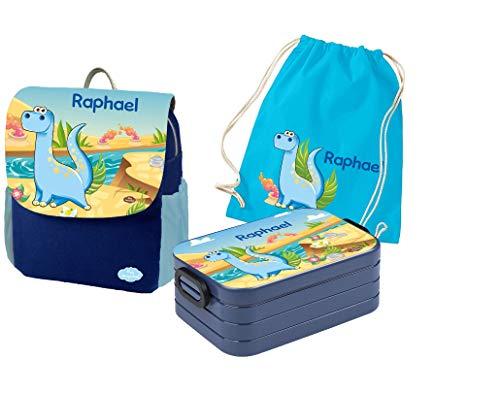 Mein Zwergenland Set 4 Kindergartenrucksack mit Brotdose Maxi und Turnbeutel Happy Knirps Next Print mit Name Dino, 3-teilig, Blau