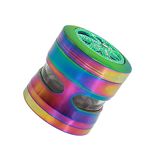 Herb Grinder 4 Pieces 2.5 inch Grinder Rainbow Zinc Alloy Large Capacity Spice Grinder with Transparent Window and Collection Scraper