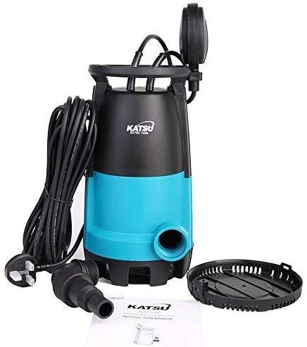 KATSU - Bomba sumergible portátil de 900 W para agua limpia y sucia, 18000 L/h para estanque de jardín, piscinas, zanjas + interruptor de flotador + base intercambiable