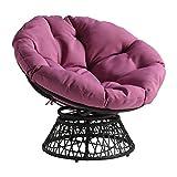 OSP Home Furnishings Wicker Papasan Chair with 360-Degree Swivel, Grey Frame with Purple Cushion