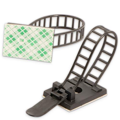 Flexowire 50 Stk. flexible Kabelklemme Kabelclip Kabelbefestigung Drahthalter selbstklebend oder mit Schraube für Schreibtisch, TV, etc. (Schwarz)