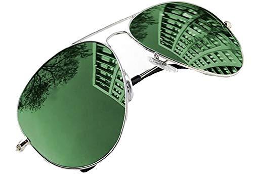 4sold Sonnenbrille in vielen Farbkombinationen Klassische Brille Unisex Sonnenbrille (Spiegel grün)