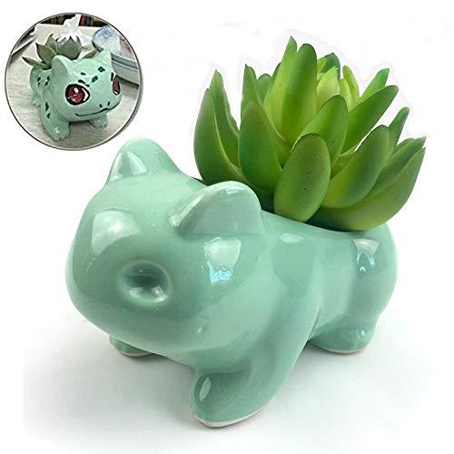 Csjunjie Sukkulente Blumentopf DIY Malerei Kunst Vase Blumentopf Bulbasaur Pflanzer Pokemon Topf, klein