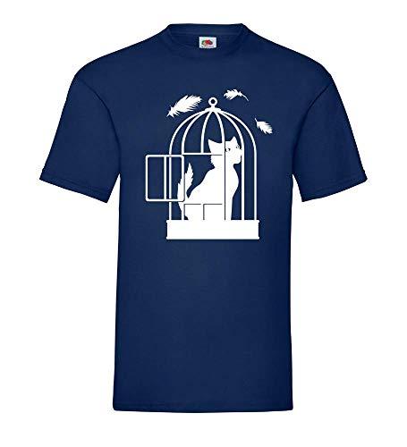 T-shirt pour homme avec chat dans une cage à oiseaux....