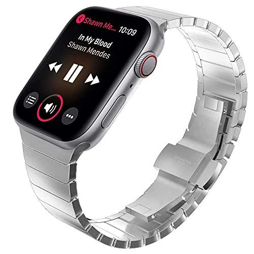 Livronic Pulsera para Apple Watch 6, 5, 4, 44 mm, 40 mm, correa de acero inoxidable, para Iwatch SE, Business Pulseira 42 mm, 38 mm (color de la correa: negro, ancho de la correa: 44 mm)