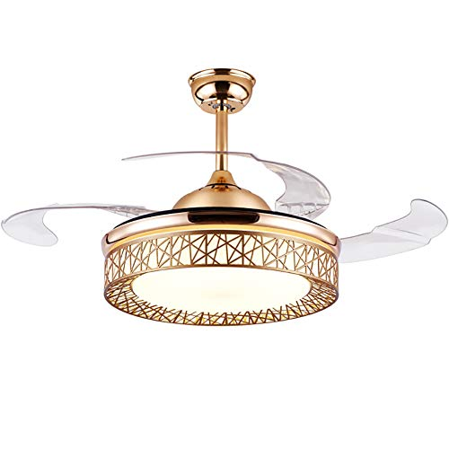 TFCFL 42 Inch LED Ceiling Fan Light with Remote Control 3 Colors Change Retractable Blades Chandelier Fan Light for Home Indoor with Bluetooth/without Bluetooth (Gold)