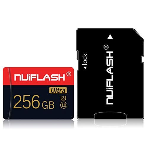 Tarjeta de memoria micro SD de 256 GB con adaptador SD (velocidad rápida clase 10), tarjeta de memoria TF para cámara, teléfono móvil, tableta, consola de juegos, cámara de salpicadero