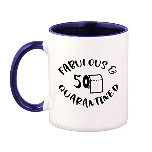 Tazza da caffè colorata Favoloso 50 Quarantena Distanziale sociale Quarantena Distanziale sociale Quarantena Distanziale sociale Divertente Tazza da tè in ceramica 11 Oz Manico interno blu