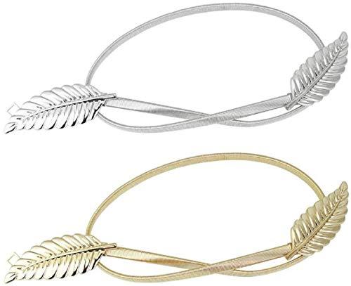 Xrten Hojas Metal Elástico Cintura, Cinturón Elástico de Mujeres, Mujer Cinturón en Forma de Hoja para Vestido, Fiesta, Boda