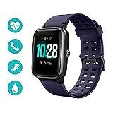 Huyeta Smartwatch Reloj Inteligente 5ATM Impermeable Pulsera Actividad Inteligente Reloj Deportivo con Pantalla Táctil Completa Pulsómetro Cronómetros para iPhone iOS Android (Azul)