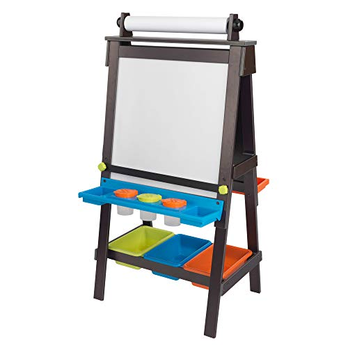 KidKraft Wooden Storage Easel with Dry Erase and Chalkboard Surfaces, Children