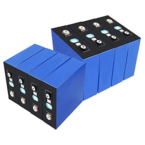 RIYIFER Batería de fosfato de Hierro y Litio de 3,2 V y 100 Ah, batería de Carga Solar de 4 Celdas,batería de Ciclo Profundo,para Sistema de Almacenamiento de energía Solar UPS,8pcs,100Ah/3.2v