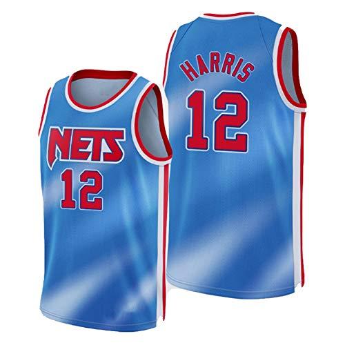 Joe Harris Jersey, Brooklyn Nets Nr. 12 2021 Neue Saison Herren Basketball Trikots ärmelloses T-Shirt Unisex Outdoor Training Kleidung Weste Gr. XL, blau